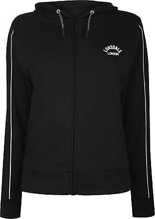 Lonsdale Womens Long Line Zip Hoodie Hoody Hooded Top Full Elasticated Trim Black 16 (XL)
