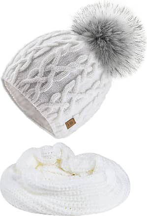 4sold Ladies Womens Beanie Warm Winter Bobble Faux Fur Pom Pom Wooly Full Liner Cossy - Set Model 1 White 011