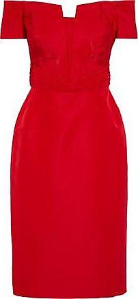 cef4af95c0 Zac Posen Zac Posen Woman Off-the-shoulder Pleated Silk-faille Dress Red