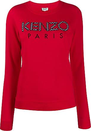 Kenzo Moletom decote careca com logo bordado - Vermelho
