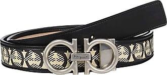 Salvatore Ferragamo Adjustable Belt - 67A013 (Beige/Black) Mens Belts