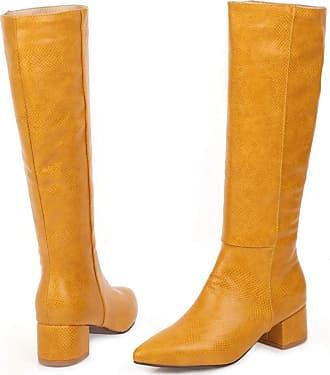 Vimisaoi Womens Knee High Boots, Pull On Block Mid Heel Go Go Riding Boots