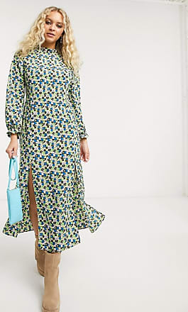 Topshop high neck midi dress in green floral-Multi