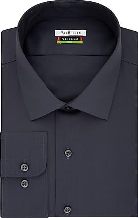 Van Heusen Mens Dress Shirts Big Fit Solid Spread Collar, Charcoal, 18 Neck 32-33 Sleeve