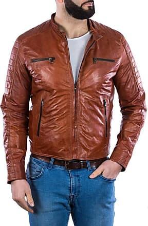 Leather Trend Italy U05 - Giacca Uomo in Vera Pelle colore Cuoio Oil Vintage