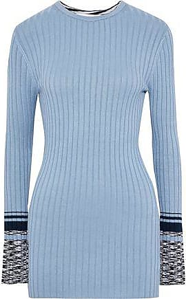 Victoria Beckham Victoria, Victoria Beckham Woman Intarsia And Ribbed-knit Sweater Sky Blue Size 10
