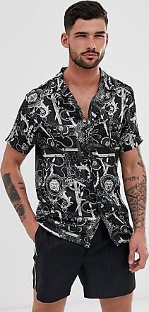 River Island revere collar shirt in baroque print-Black