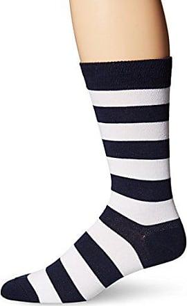 Hot Sox Mens Fashion Pattern Slack Crew Socks, College Rugby Stripe (Navy/White), Shoe Size: 6-12