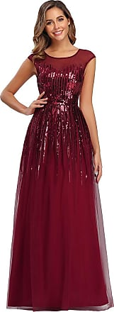 Ever-pretty Womens Classic Round Neck Floor Length A Line with Sequin Elegant Formal Evening Party Dresses Burgundy 18UK