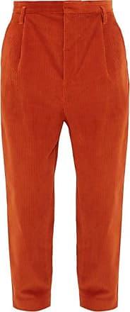 Raey Exaggerated Tapered-leg Corduroy Trousers - Mens - Dark Orange