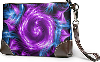 GLGFashion Womens Leather Wristlet Clutch Wallet Purple Swirls Light Flower Storage Purse With Strap Zipper Pouch