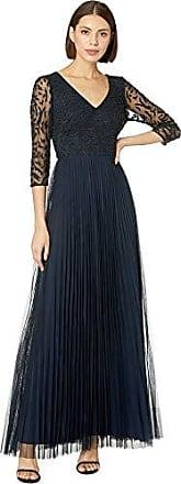 Adrianna Papell Womens Three Quarter Sleeve Pleated Dress, Midnight, 4
