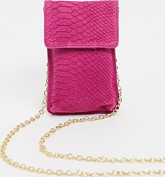 Urban Code leather cross body phone bag with chain strap in fuschia-Pink