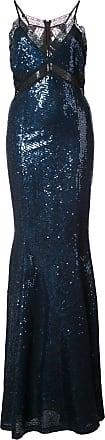 Zac Posen Vestido longo Leila com paetês - Azul