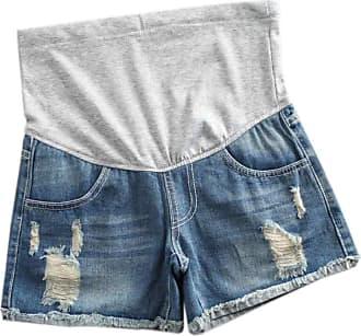 Inlefen Women Maternity Denim Jean Shorts Lounge Shorts Pregnancy Short Pants Adjustable Over Bump Jeans Pants (28 Light blue-2XL)