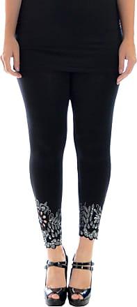 Nouvelle Collection Womens Plus Size Leggings Beaded Floral Sequin Laser Cut Black 12-14 Nouvelle Collection