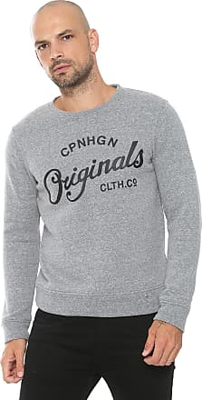 Jack & Jones Moletom Flanelado Fechado Jack & Jones Estampado Cinza