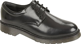 Roamers Boys Leather 3 Eyelet Lace Up Hi Shine Smart School Formal Gibson Shoes Size 1-6 - Black - UK 6