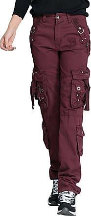 OCHENTA Women Workwear Uniform Combat Cargo 8 Pockets Security Trousers Bordeaux Lable 34-UK 14