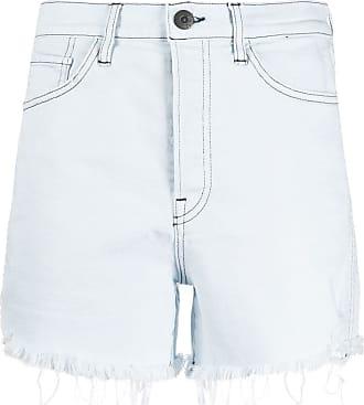 3x1 Short jeans com barra desfiada - Azul