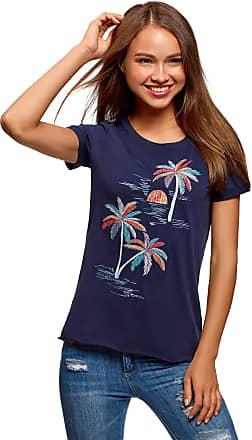 oodji Womens Raw Hem Embroidered Cotton T-Shirt, Blue, UK 4 / EU 34 / XXS