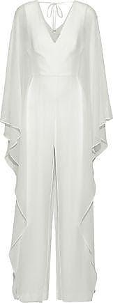 Halston Heritage Halston Heritage Woman Draped Georgette Jumpsuit White Size 4