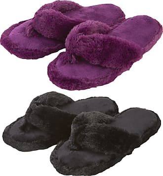Forever Dreaming Ladies Memory Foam Faux Fur Flip Flop Style Indoor Slippers - 2 Pack - Plum/Black Size 4