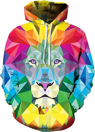Ocean Plus Mens Hoodie 3D Graphic Hoodie with Kangaroo Pocket Hoody Sweat Hood Sweatshirts (L/XL (Chest: 114-134CM), Colorful Square Lion)