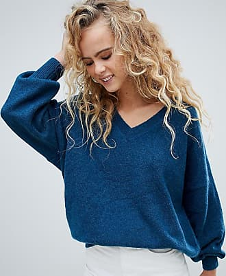 Weekday v neck oversized sweater in petrol blue - Blue