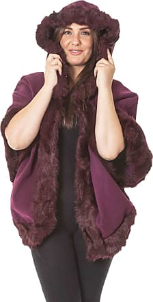 Love my Fashions Womens Plain Italian Lagenlook Quirky Layering Cape Poncho Ladies Faux Fur Hooded Trim Wool Cloak Wrap Winter Coat Size Fits UK Size 8-20 Burgundy