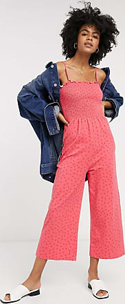 Glamorous wide leg jumpsuit with shirred bodice in ditsy strawberry-Pink
