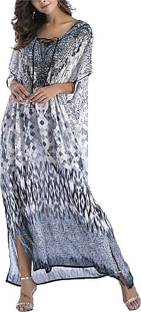 QIYUN.Z Womens V Neck Beach Dress Top Caftan Cover up with Tie Up Grey One Size