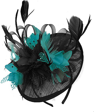 Caprilite Black and Teal Turquoise Sinamay Disc Saucer Fascinator Hat for Women Weddings Bird Cage Veil Headband