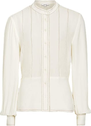 Reiss Shelley Cream Grandad Collar Blouse with Contrast Stitch Detailing RRP £135 Sizes 4-16 (8)