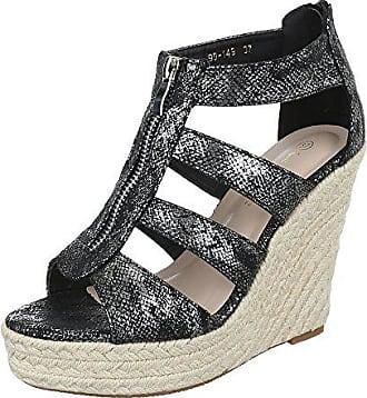 Ital-Design Keilsandaletten Damen-Schuhe Plateau Keilabsatz Wedge Peep-Toe  Reißverschluss Sandalen fd186ff418