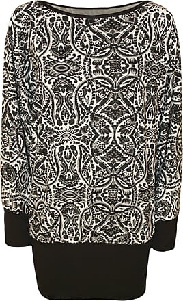 WearAll Womens Black White Celeb Checked Paisley Print Batwing Plus Size Ladies Top - Abstract - 26-28
