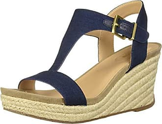 Kenneth Cole Reaction Womens Card Wedge T-Strap Espadrille Sandal, Indigo, 6 M US