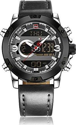 NAVIFORCE Relógio Masculino Naviforce NF9097 SGY Pulseira em Couro - Preto