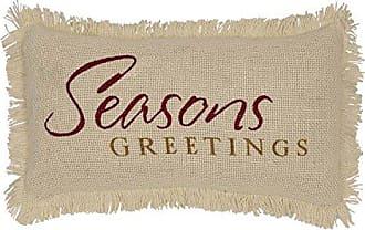 VHC Brands Christmas Holiday Throws-Creme Burlap White Seasons Greetings 7 x 13 Pillow, 7 x 13
