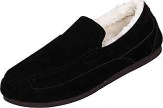 Daytwork Men Fur Lined Shoes - Moccasin Comfort Slippers Mens Faux Suede Stitch Detail Hard Sole Warm Shoe Size UK 8-12 Black