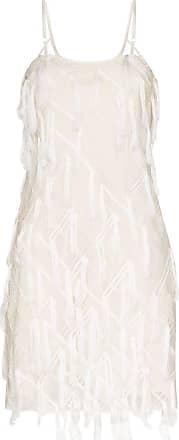 Xu Zhi Slip dress com aplicação xadrez - Branco