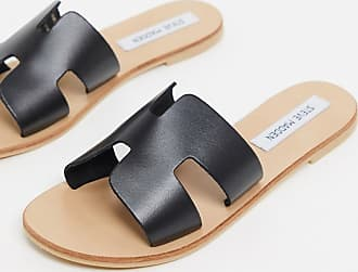 Steve Madden grayson leather flat sandals in black leather