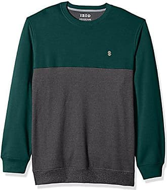 Izod Mens Big and Tall Advantage Performance Colorblock Crewneck Fleece Sweatshirt, Jungle Bug, 6X-Large