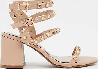 Miss Selfridge heeled sandals with stud detail in pink-Beige