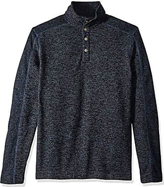 Van Heusen Mens Size Big and Tall Sweater Fleece Long Sleeve 1/4 Button Mock Neck, Blue Thunder, X-Large