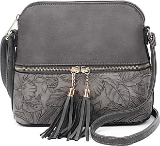 LeahWard Womens Quality Faux Leather Cross Body Bags Tassel Shoulder Bag Handbags For Holiday Party 1061 (Grey Floral)
