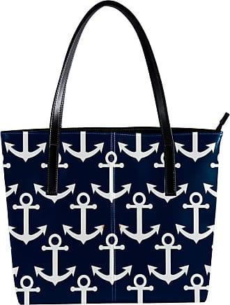 Nananma Womens Bag Shoulder Tote handbag with Blue Nautical Anchor Print Zipper Purse PU Leather Top-handle Zip Bags