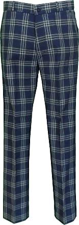 Relco Mens Classic Retro Mod Sta Press Trousers (30, Navy Tartan)