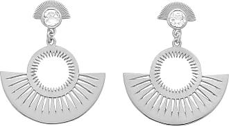 Zoe & Morgan Silber mit weißer Zirkontasche voller Sonnenscheinohrringe - Silver/White