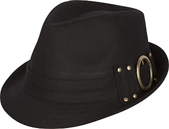 Sakkas 104FL Sammy Structured Wool Fedora Hat - Black - One Size